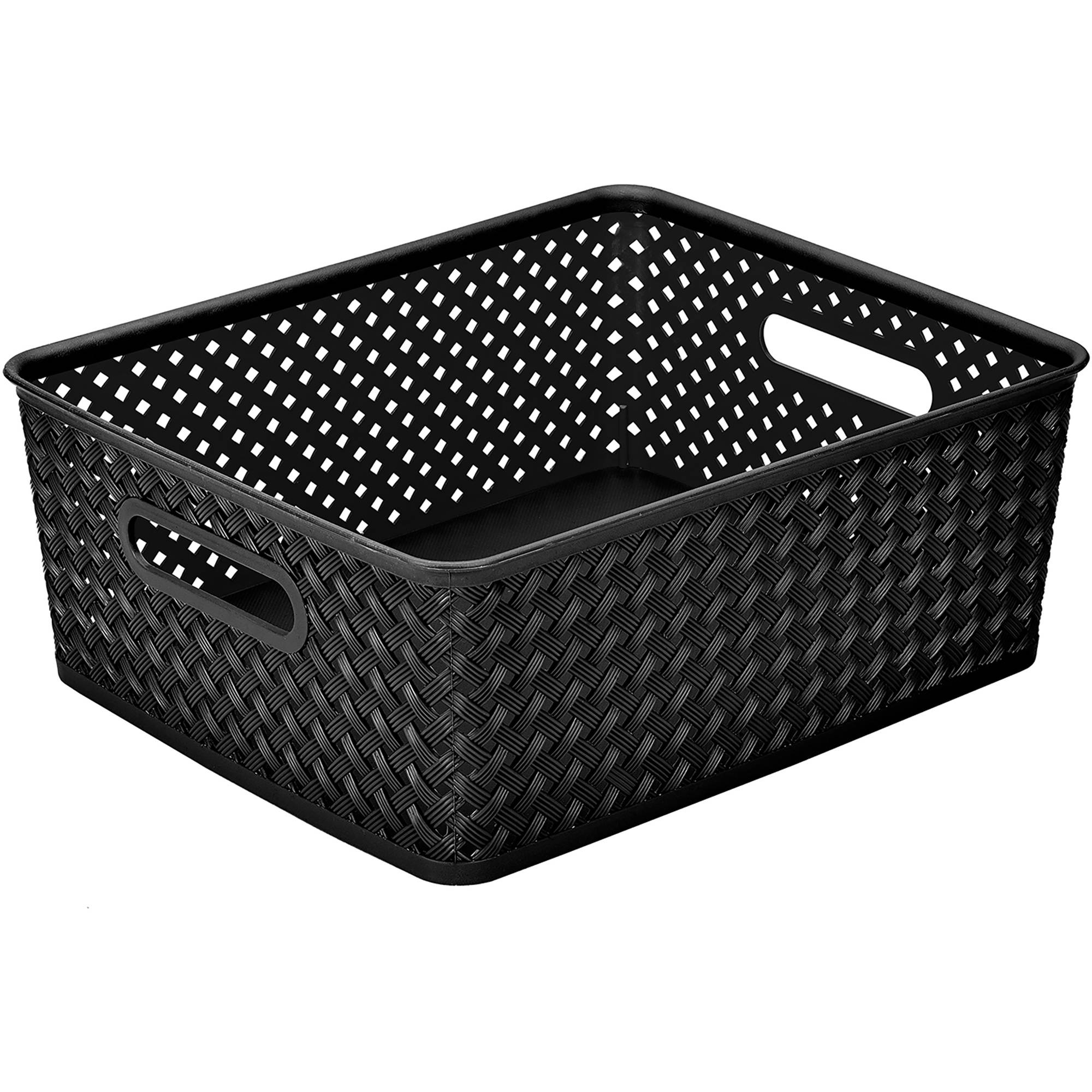 "Resin Wicker Storage Tote, Medium 14"" x 11.5"" x 5.15"", Basket Weave"