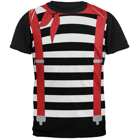 Halloween French Mime Costume All Over Mens Black Back T Shirt - Mimes Costumes