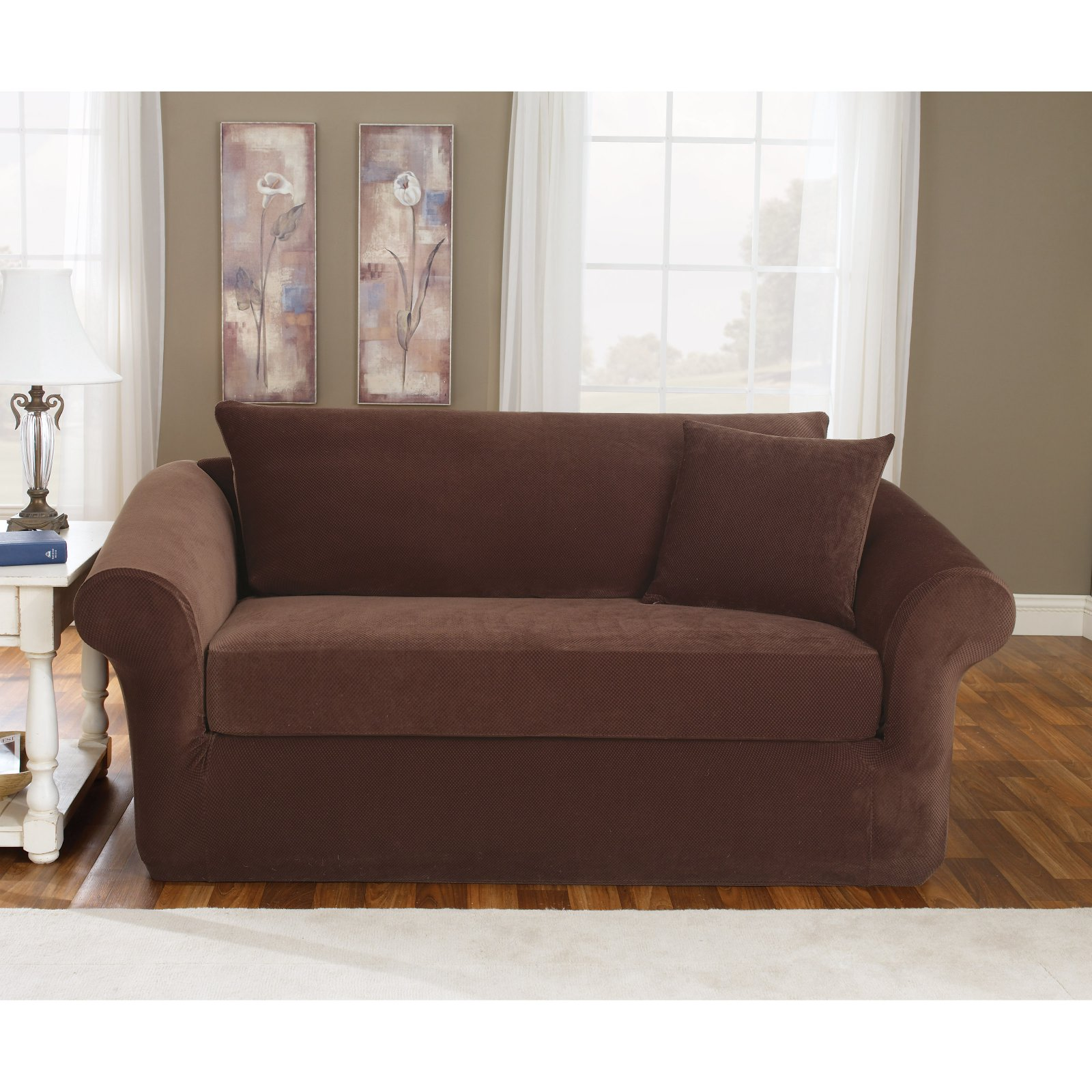 Sure Fit Stretch Pique Three Piece Sofa Slipcover