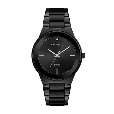 Caravelle Mens Bracelet - Caravelle Men's Modern Diamond Dial Black-Tone Stainless Steel Bracelet Watch 40mm
