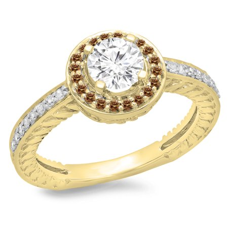 1.00 Carat (ctw) 10K Yellow Gold Round Cut Champagne & White Diamond Ladies Bridal Vintage Halo Style Engagement Ring 1