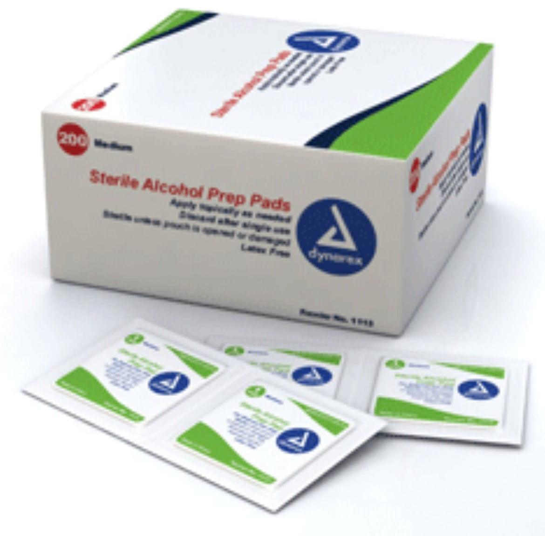 Dynarex Sterile Alcohol Prep Latex Free Pads, Medium Size - 200 Ea