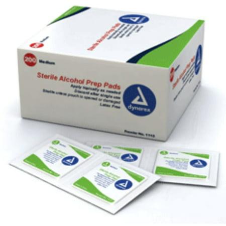 Dynarex Alcohol Prep Pads (Swabs) Sterile, Medium 200 ea