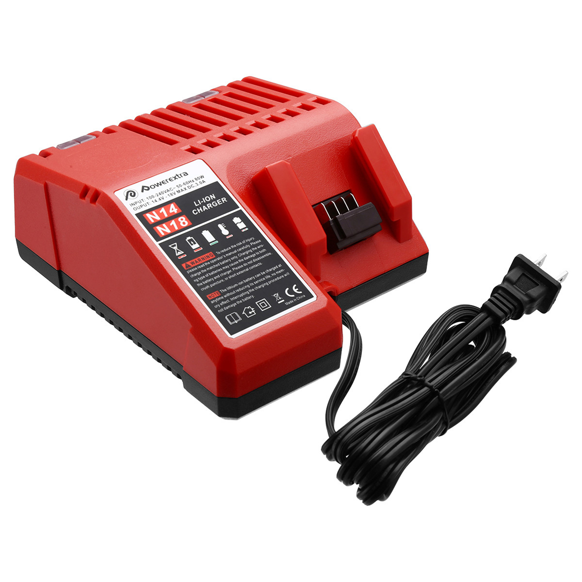 Powerextra M18 Lithium-ion Battery Charger for Milwaukee Battery M18 48-11-1815 With AC Cord 1.75m