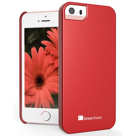 Uv Sensitive Case Fan - iPhone SE Case, GreatShield Guardian UV Glossy Series Slim Fit Snap On Case Back Cover for Apple iPhone SE / 5S / 5 (Red)