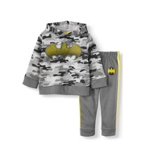 Batman Toddler Boy Pullover Hoodie Sweatshirt & Taped Jogger Pant, 2pc Outfit Set