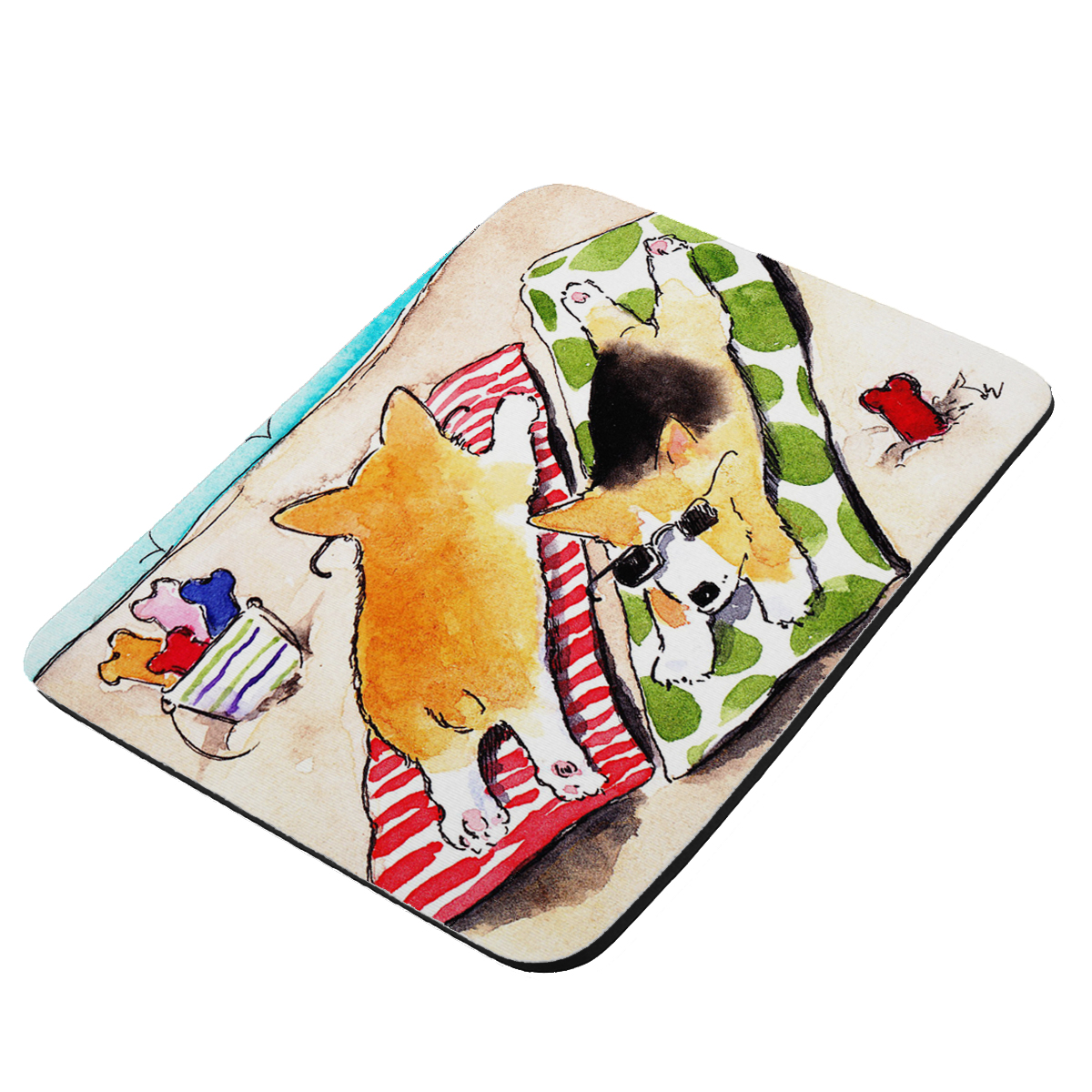 Beach Corgis Welsh Corgi Dog Art by Denise Every - KuzmarK Mousepad / Hot Pad / Trivet