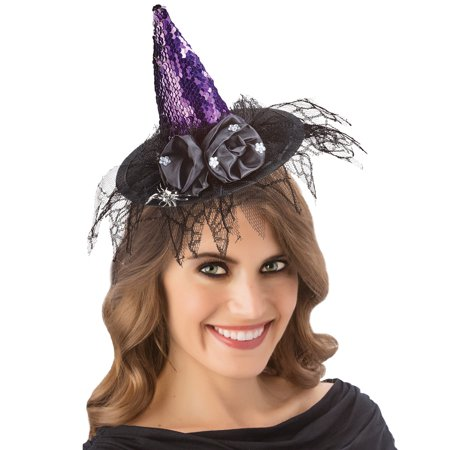 Tulle Witch Costume (Spooky Halloween Witch Hat Headband with Black Tulle and Gloves with Long Silver Fingernails - Halloween Costume)