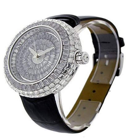 White Gold Tone Full Iced Princess Cut Baguette Simulated Diamond Orbit Bling Master Mens Genuine Leather Band
