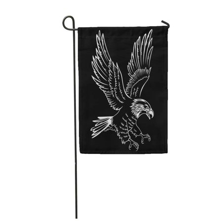 LADDKE Flying Bald Eagle Silhouette Black This Tattoo Other Uses Hawk White Mascot Bird USA Garden Flag Decorative Flag House Banner 12x18 inch](Birds Silhouette)