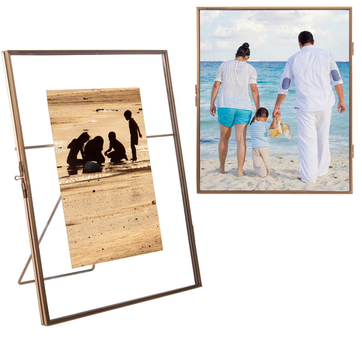 Concepts In Time (2 Pack) Floating Metallic Picture Frames Free Standing Glass For 5x7 Or 8x10 Photos