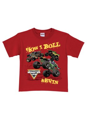 Personalized Monster Jam Toddler Boys' T-Shirt - How I Roll Red - 2T, 3T, 4T, 5/6T
