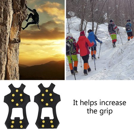 Ejoyous 1 Pair Outdoor Snow Antiskid Spikes Grips Mountain Climbing Footwear Ice Traction Cleats