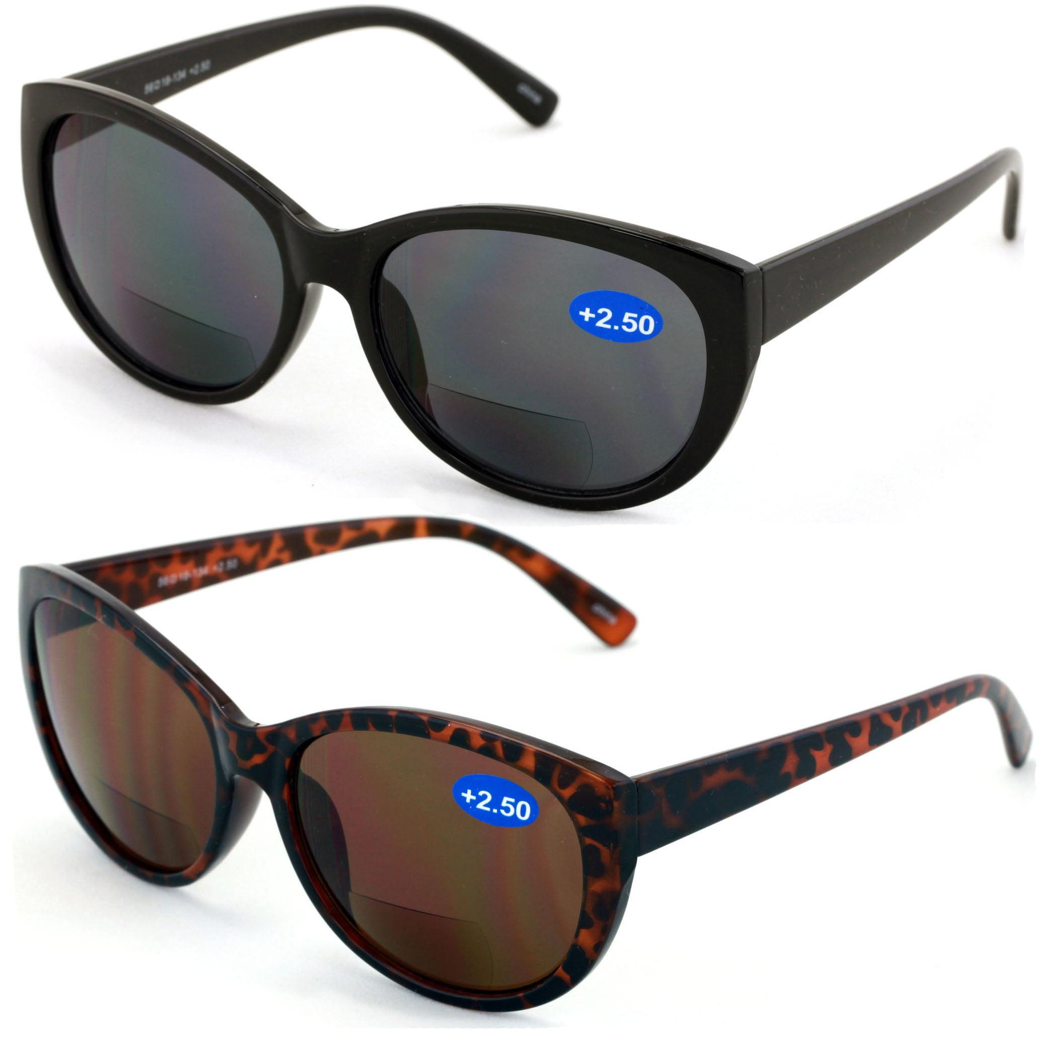 1466cbad7dbb V.W.E. - V.W.E. 2 Pairs Women Bifocal Reading Sunglasses Reader Glasses  Cateye Vintage Jackie O Black Brown - Walmart.com