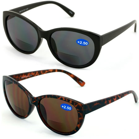 V.W.E. 2 Pairs Women Bifocal Reading Sunglasses Reader Glasses Cateye Vintage Jackie O Black Brown ()