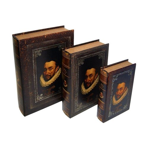 Cheungs Cheungs FP-2904C/3 Wooden Book Decorative Boxes (Set of 3)