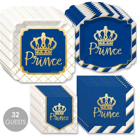 Royal Themed Baby Shower (Royal Prince Charming with Gold Foil - Baby Shower or Birthday Party Tableware Plates and Napkins - Bundle for)