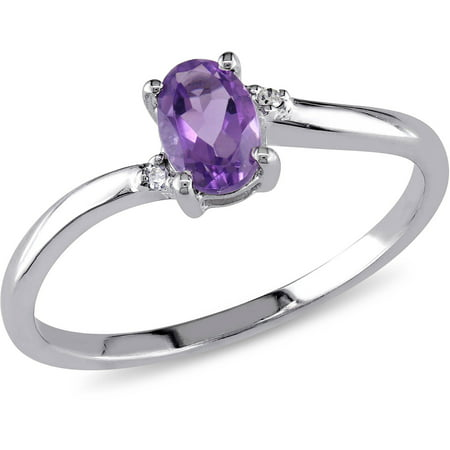 Amethyst Brass Ring (3/8 Carat T.G.W. Amethyst and Diamond-Accent 10kt White Gold Bypass Ring)