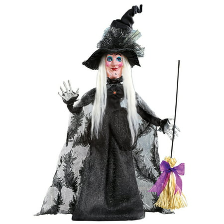 Halloween Witch in Long Black Dress with Broom and Spiderweb Tulle Hat Tabletop Decoration