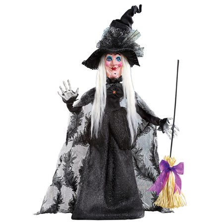 Halloween Witch in Long Black Dress with Broom and Spiderweb Tulle Hat Tabletop - Halloween Witches Decorations