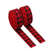 Reactionnx 5 Pcs Checkered Plaid Ribbon, Gingham Design for Floral, Craft, Holiday Decoration