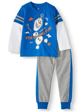 Disney Frozen 2 Olaf Toddler Boy Long Sleeve T-shirt & Jogger Pant, 2pc Outfit Set