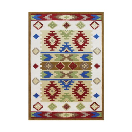 - Alliyah Rugs Alliyah Handmade Cream Abstract New Zealand Blend Wool Rug (5' x 8') - 5' x 8'