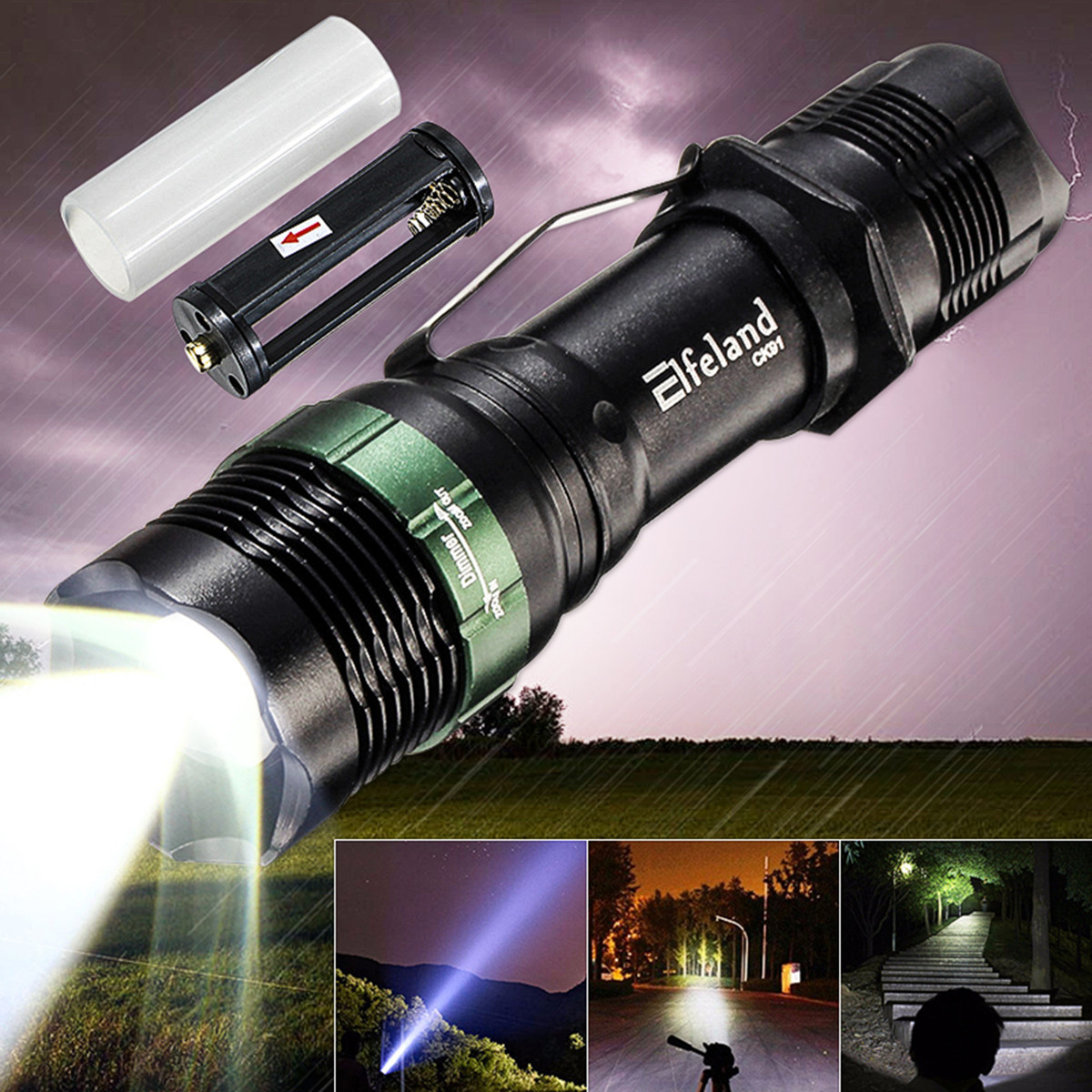 Tactical 20000LM T6 LED 18650 Super Bright Torch Flashlight Lamp Light Charger