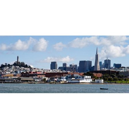 Buildings at the waterfront Transamerica Pyramid Coit Tower Fishermans Wharf San Francisco California USA Canvas Art - Panoramic Images (30 x 14) (Fishermans Wharf San Francisco Ca)