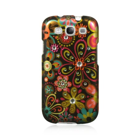 Insten Flowers Spot Diamond Hard Clip On Back Rear Cover Case For Samsung Galaxy S3 - Brown (Samsung S3 Back Cover)