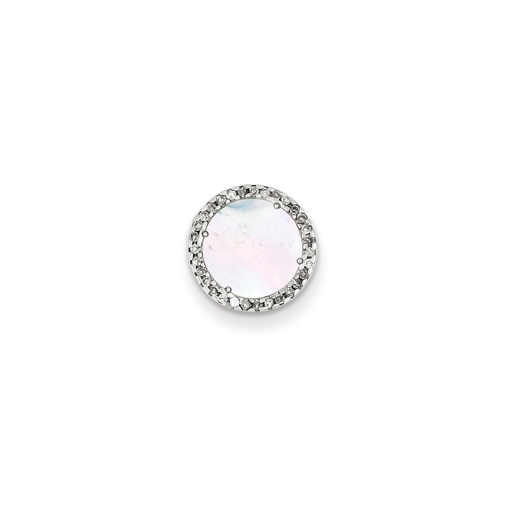 Sterling Silver Diamond & Mother of Pearl Circle Pendant. Carat Wt- 0.08ct