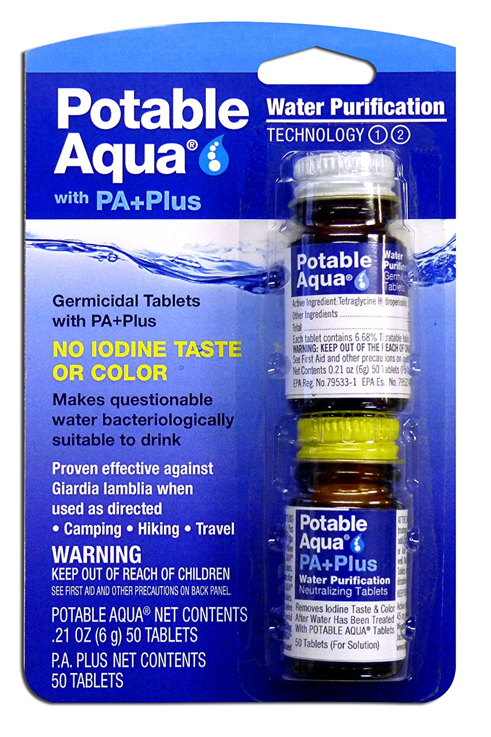 Water Purification Tablets with PA Plus For Camping and Emergency Drinking Water, Potable Aqua tablets provide purified... by