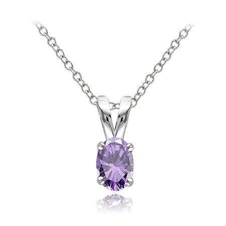 Sterling Silver Amethyst 6x4mm Oval Solitaire Necklace