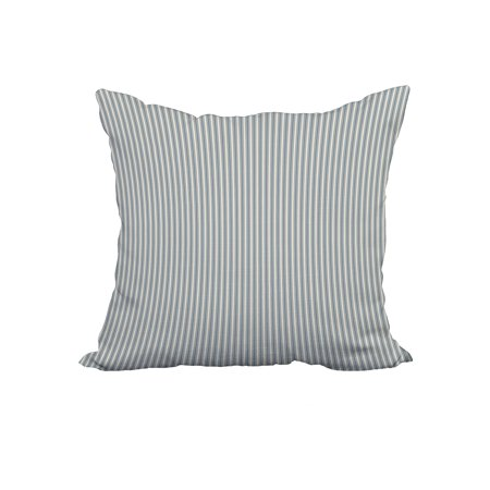 18 x 18 Inch Ticking Stripe Navy Blue Stripe Print Decorative Polyester Throw Pillow with Linen Texture ()