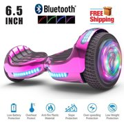 """UL 2272 Certified Hoverboard 6.5"""" Bluetooth Speaker with LED Flash Wheel Self Balancing Wheel Electric Scooter - Chrome Turquoise"""
