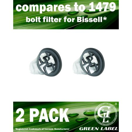 Filter Boost - 2 Pack For Bissell Bolt Vacuum Filter (compares to 1479). Genuine Green Label product