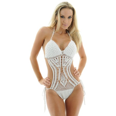 Daisy Swimwear 1 Piece White Crocheted Swimsuit Monokini With