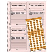 """Rediform While You Where Out Message Book - 200 Sheet[s] - Wire Bound - 2 Part - Carbonless - 11"""" X 8.50"""" Sheet Size - Pink - 1each (50736)"""