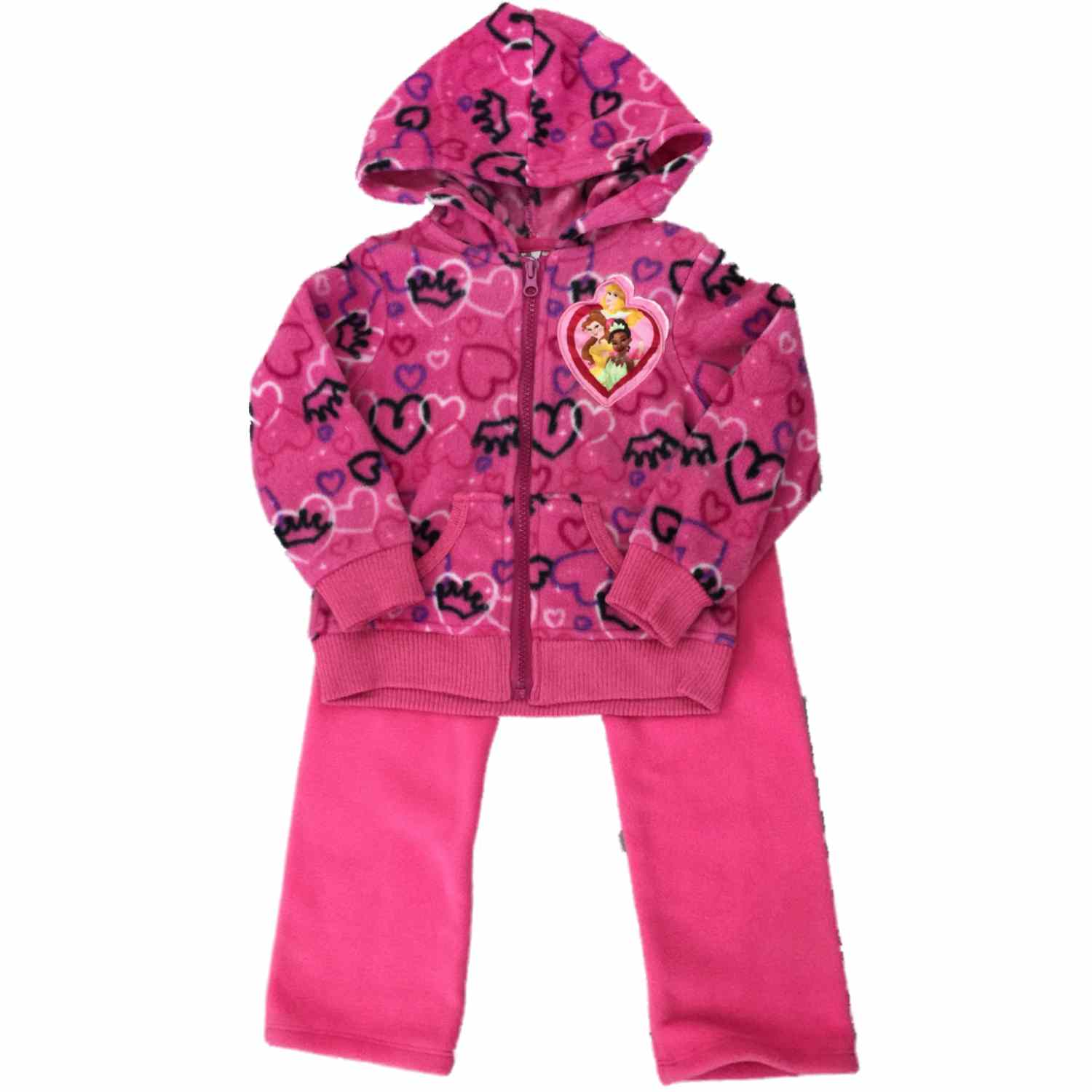 Infant Toddler Disney Princess Girls Fleece Jogger Hoddie Sweatsuit Outfit  - Size - 3T