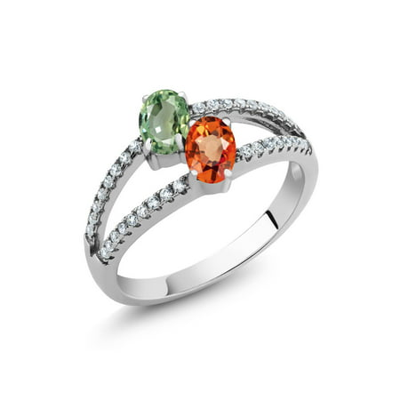 1.51 Ct Oval Green Sapphire Orange Sapphire 925 Sterling Silver Ring