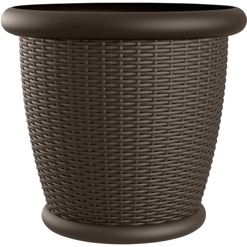 "Suncast 22"" Wicker Resin Planter, Java, Contains 2 Planters"