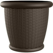 Suncast Willow® Resin Wicker Planter, Round Decorative Plant Pot, Java Brown, Set of 2