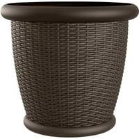 Suncast Willow® Resin Wicker Planter, Round Decorative Plant Pot, Java Brown, Set of 2