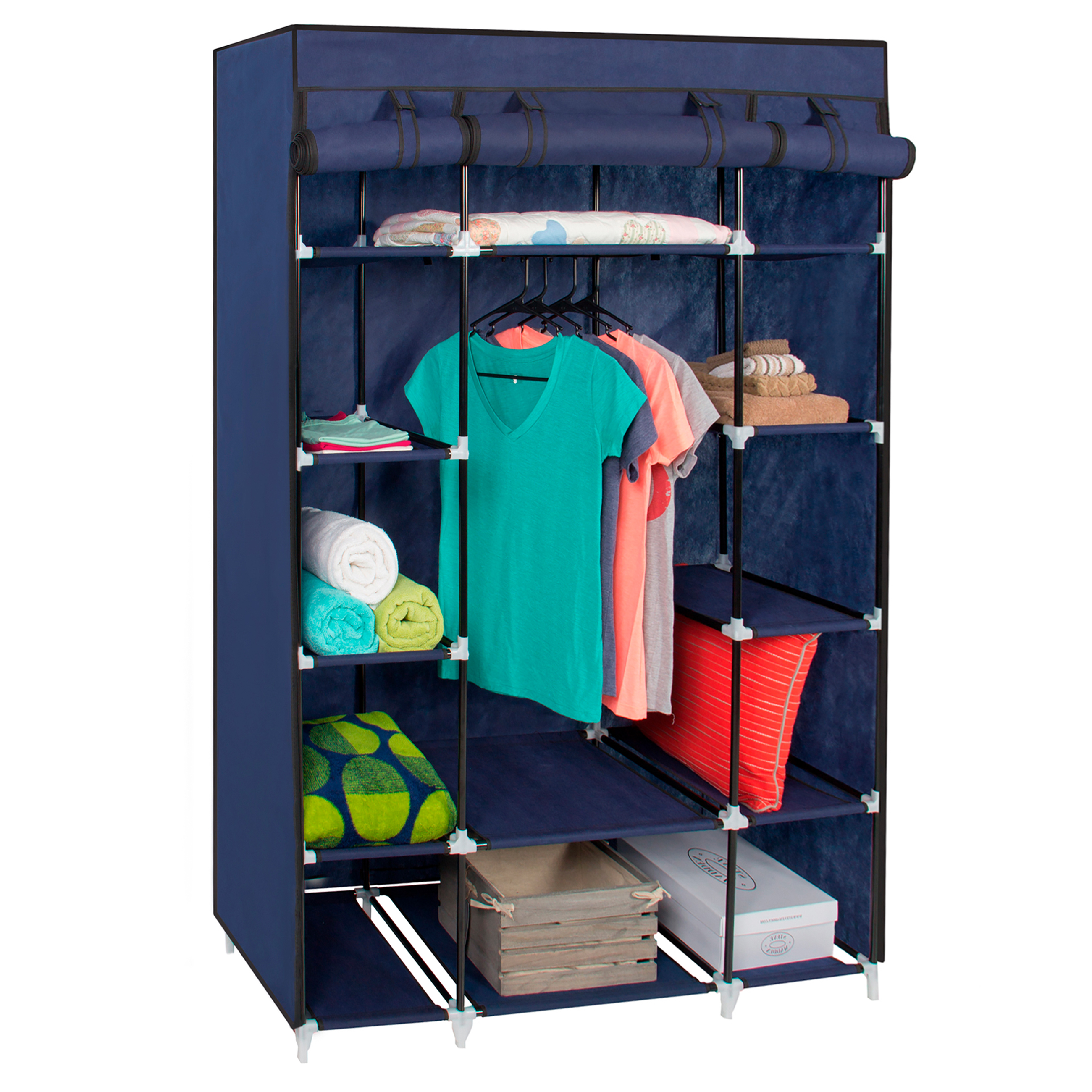 Best Choice Products 13-Shelf Portable Fabric Closet Wardrobe Storage Organizer w/ Cover and Hanging Rod - Blue