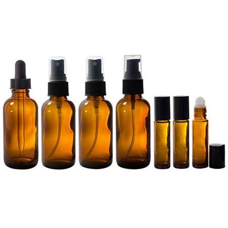 - 2 oz Amber Glass Bottle 7 piece Starter Kit Set