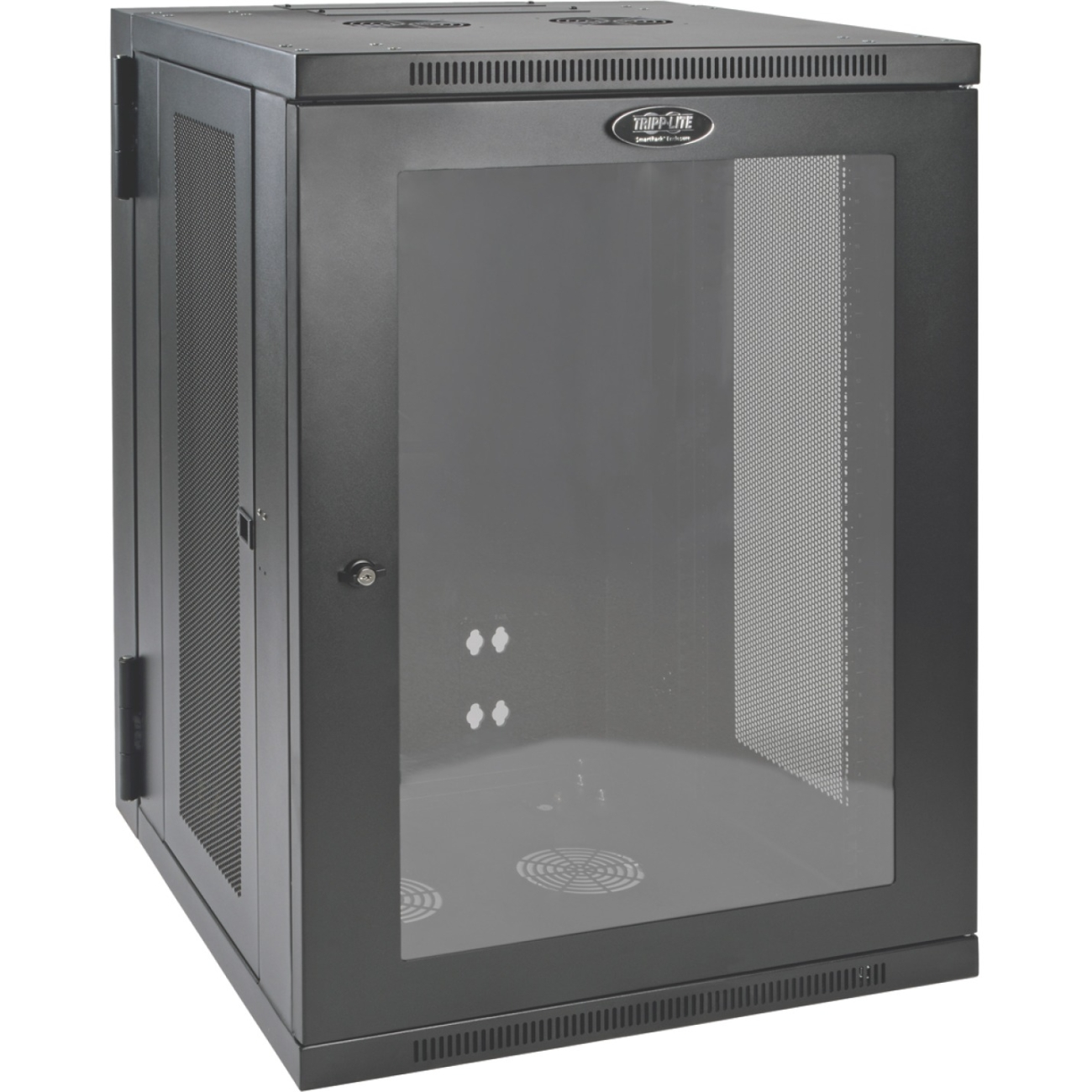 "Tripp Lite 18u Wall Mount Rack Enclosure Server Cabinet W Hinged Acrylic Window - 19"" 18u Wide X 10.42"" Deep Wall Mountable For Lan Switch, Patch Panel - Black Powder Coat - Acrylic, Steel (srw18usg)"