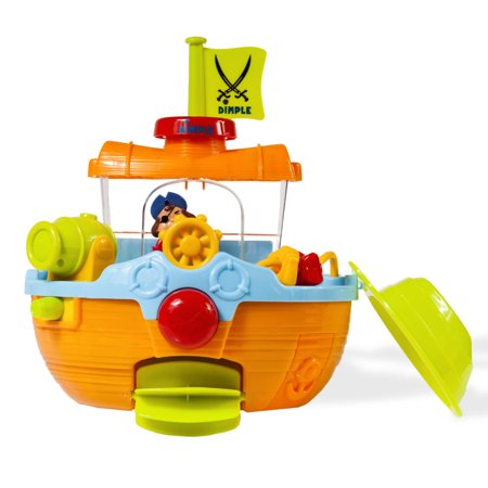 Wall Mountable Pirate Ship Bath Tub Toy with Water Scoops, Moveable Rudder and Paddle and Water Cannon by Dimple (Tub Toys For Toddlers)