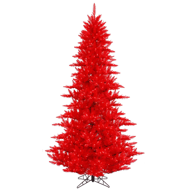 10' Pre-Lit Layered Ruby Red Fir Artificial Christmas Tree - Red Lights