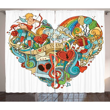I Love You Curtains 2 Panels Set, Love with Eros Arrow Music Present Boxes Swirls Balloons Ring Marry Me Concept, Window Drapes for Living Room Bedroom, 108W X 84L Inches, Multicolor, by Ambesonne - Marry Me Balloons