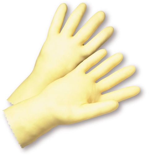 6 Standard Unlined Amber Latex Gloves Dozen